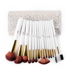 15 Piece Synthetic Hair Makeup Brush Set with Cosmetics Bag