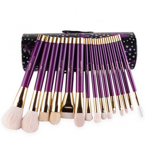 MSQ 15 Piece Professional Purple Makeup Brush Tool