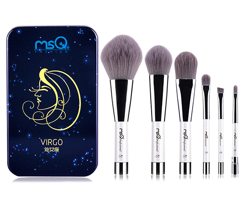 MSQ 6 Constellation Series 6 Pieces Zodiac Makeup Brushes Set Synthetic Hair Portable Make Up Brush Kit With Magnetic Case