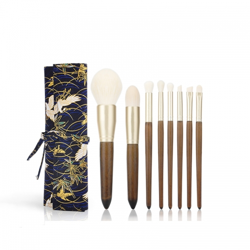 MSQ 8pcs Wooden Color Make Up Brush Nylon Hair Cosmetics Brush Set Wholesale